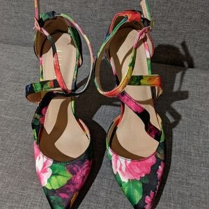 Multicolored Floral Strappy Pointed-Toed Heel